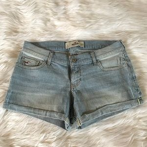 Blue and white striped Hollister shorts